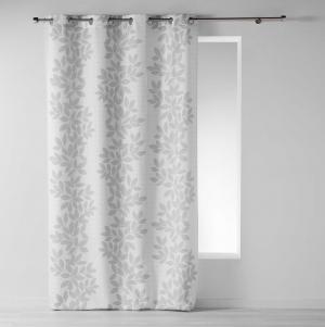 Kvalitný záves bielej farby so sivými lístkami 140 x 260 cm