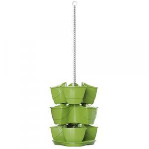 Kvetináč COUBI DKN300W, závesný, grafit, reťaz 880 mm, trojpodlažný, na bylinky