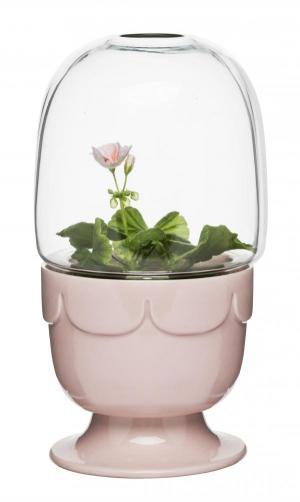 Kvetináč s poklopom SAGAFORM Greenhouse, ružový svetlý