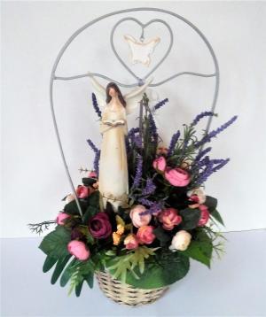 kvetinová dekorácia s anjelom 30 x 52 cm