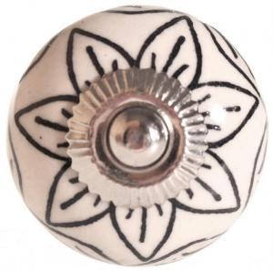 La finesse Porcelánová úchytka Black Flower Decor