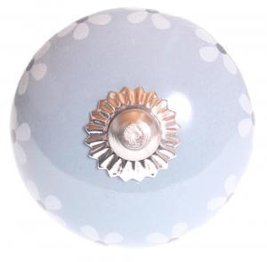 La finesse Porcelánová úchytka Flower Blue Silver