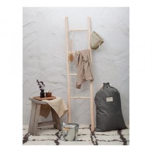 Látkový vak na bielizeň s prímesou ľanu Linen Couture Bag Cool Grey, výška 75 cm