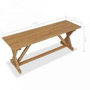 Lavica masívne teakové drevo Dekorhome 120 cm