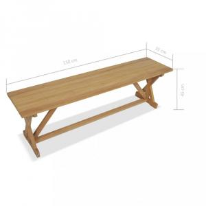Lavica masívne teakové drevo Dekorhome 150 cm