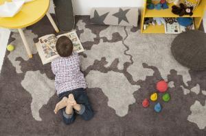 LC Prateľný koberec World Map 140x200