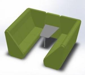 LD SEATING 3-místný box MEETING PORT KM3/BR-02