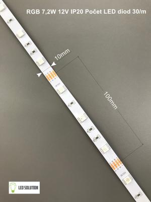 LED Solution RGB LED pásik 7,2W/m 12V bez krytia IP20 08110