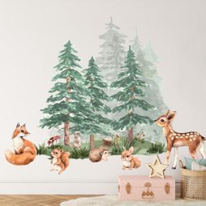 Les plný zvieratiek - samolepky pre deti