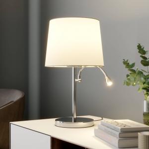 Lindby Látková stolová lampa Benjiro, s LED na čítanie