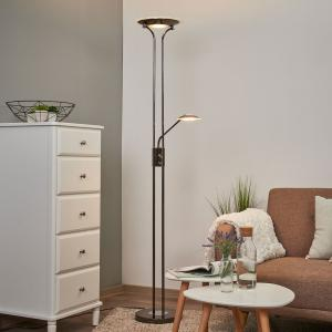Lindby Lesklé stropné LED svietidlo Aras čierno-chrómové