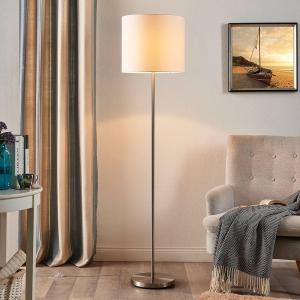 Lindby Stojaca lampa Parsa s textilným tienidlom v bielej