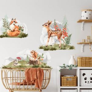 Líška, srnka, veverička - nálepky na stenu