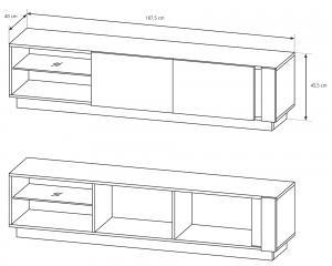 LM Dvojdverový TV stolík Penny - biely