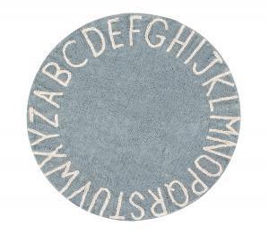 Lorena Canals koberce Ručně tkaný kusový koberec Round ABC Vintage Blue-Natural - 150x150 (průměr) kruh cm