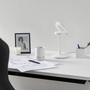 LTS Stolná LED lampa Filigree, otočná/výkyvná, biela