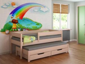 LU Detská posteľ s prístelkou Junior - dub bielený Rozmer: 180x80