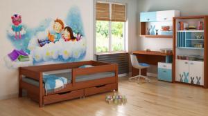 LU Detská posteľ so zábranou Mix - palisander Rozmer: 200x90