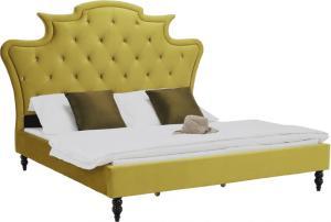 Luxusná posteľ, zlatá Velvet látka, 160x200, REINA