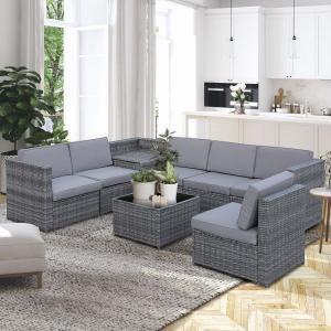 Luxusná priestranná záhradná polyratanová zostava BENNY 26| šedá