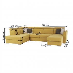Luxusná sedacia súprava, žltá/hnedé vankúšiky, ľavá, MARIETA U