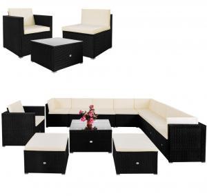 Luxusná záhradná polyratanová zostava MINAPOLO 35dielna - čierna