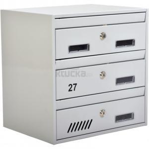 M35 modulová schránka, 3. schránky, Menovka + menovka, RAL 9016 / Biela
