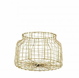 MADAM STOLTZ Drôtený košík Wire Antique Brass - menší