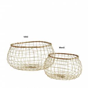 MADAM STOLTZ Drôtený kôš Bamboo & Antique Brass Väčší