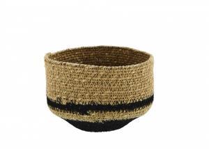 MADAM STOLTZ Úložný košík Seagrass Black Stripe
