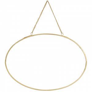 MADAM STOLTZ Závesné oválne zrkadlo Gold - na šírku
