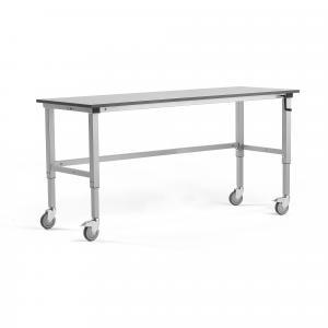 Manuálne nastaviteľný dielenský stôl Motion s kolieskami, 2000x600 mm