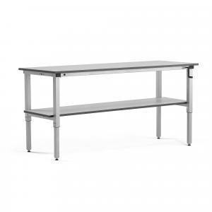 Manuálne nastaviteľný dielenský stôl Motion, s policou, 150kg, 2000x600 mm