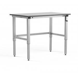 Manuálne výškovo nastaviteľný dielenský stôl Motion, 150kg, 1200x600 mm