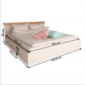 Manželská posteľ, 160x200, biela/dub artisan, GABRIELA
