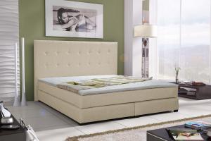 Manželská posteľ Boxspring 140 cm - Caserta (biela) (s matracmi). Akcia -32%.