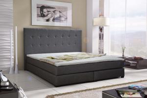 Manželská posteľ Boxspring 140 cm Caserta (sivá) (s matracmi)