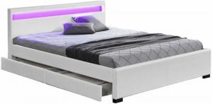 Manželská posteľ, RGB LED osvetlenie, biela ekokoža, 180x200, CLARETA