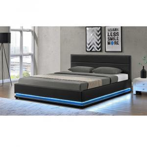 Manželská posteľ s bielym osvetlením, čierna, 160x200, BIRGET NEW