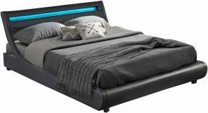 Manželská posteľ s RGB LED osvetlením, čierna, 180x200, FELINA