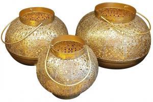 Marakéšske lucerny v zlatej farbe - 18 * 18 * 17cm / 22 * 22 * 18cm / 26 * 26 * 19cm