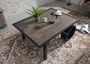 Masiv24 - IRON Konferenčný stolík 110x80 cm, mango, sivá
