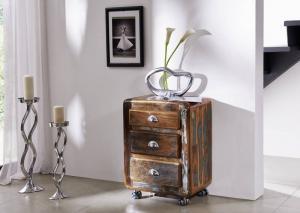Masiv24 - TESORI Kontajner na kolieskach so zásuvkami 70x55 cm, staré drevo