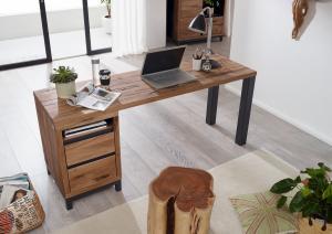 Masiv24 - TIROL Písací stôl s poličkou 220x55 cm, tmavohnedá, dub