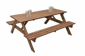 Masívny drevený pivný set z borovice 220 cm hrúbka 30 mm (morený)