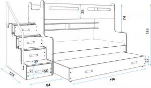 MAX 3 - Poschodová posteľ (rozšírená) s prístelkou - 200x120cm - Biely - Grafitový