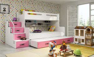 MAX 3 - Poschodová posteľ (rozšírená) s prístelkou - 200x120cm - Biely - Ružový