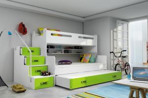MAX 3 - Poschodová posteľ (rozšírená) s prístelkou - 200x120cm - Biely - Zelený