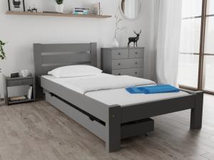 Maxi Drew Posteľ Amelia 80 x 200 cm, sivá Rošt: Bez roštu, Matrac: Matrac Somnia 17 cm