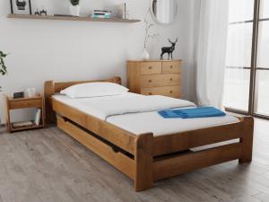 Maxi Drew Posteľ Emily 80 x 200 cm, dub Rošt: S lamelovým roštom, Matrac: s matracom COCO MAXI 23 cm